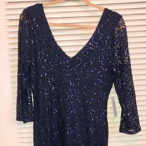 Long Blue Sequin Dress Size 12